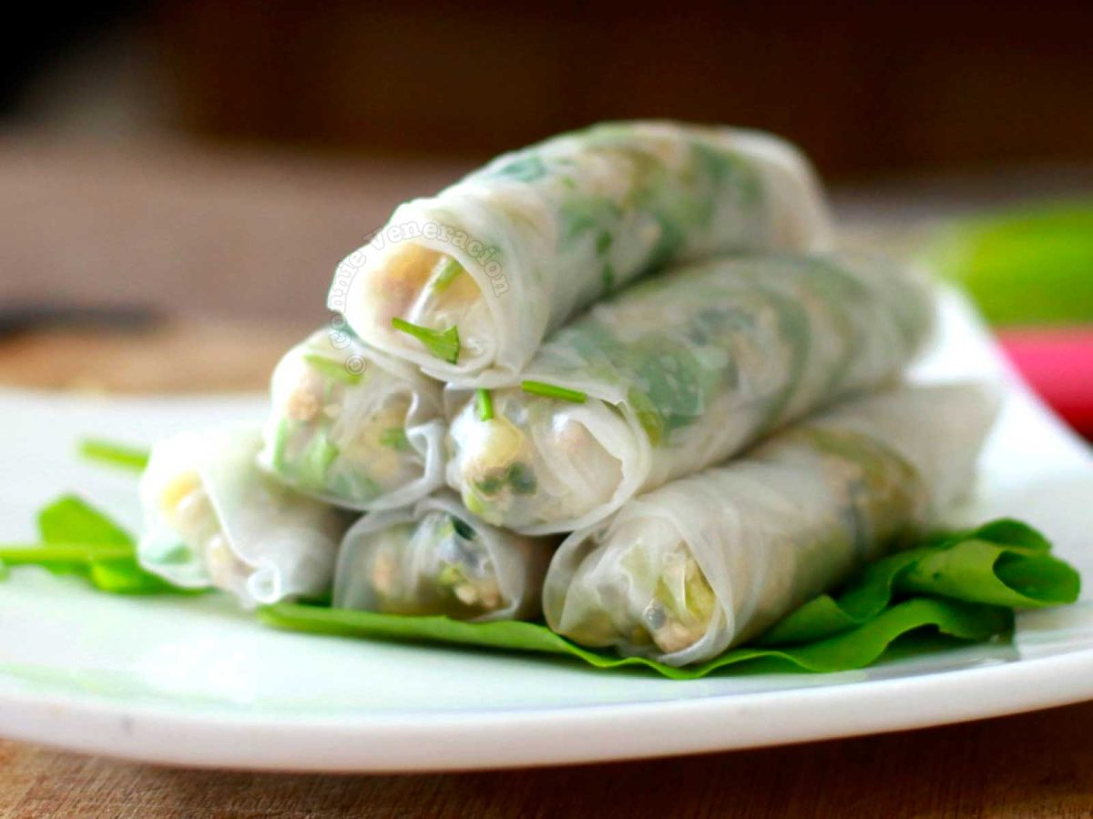 Sweet and Spicy Spring Rolls with Pork, Swamp Spinach, Chilies and Pineapple