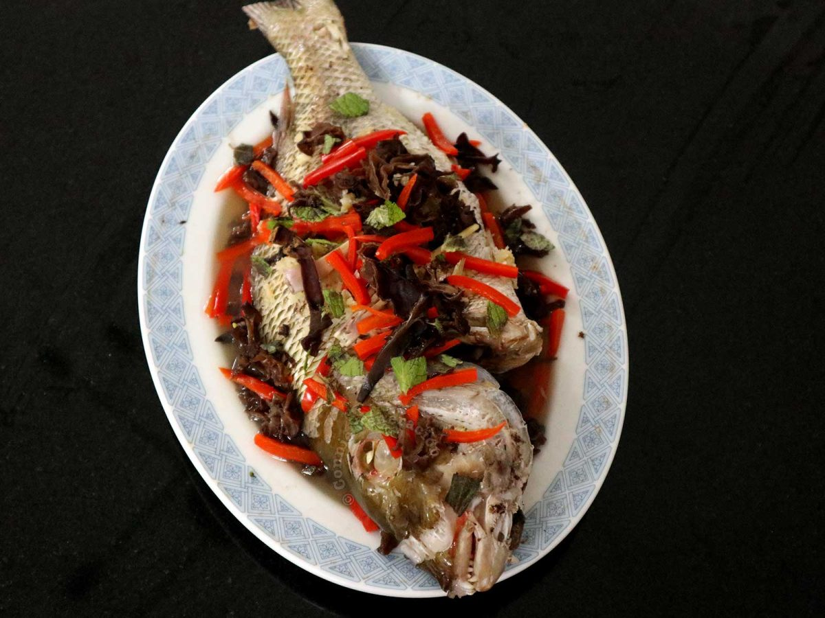 Chinese-style steamed whole fish with wood ears and bell peppers