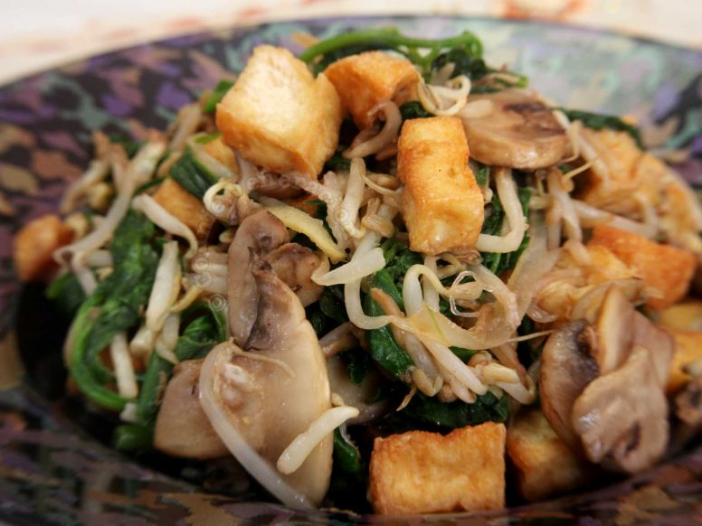 Stir Fried Tofu, Mushrooms, Bean Sprouts and Spinach