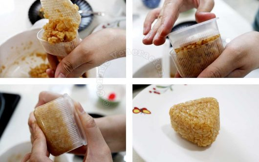 Shaping onigiri with mold