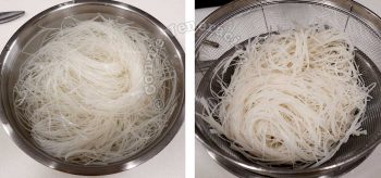 Soaking bee hon (rice vermicelli) in water