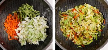 Stir frying carrot, cabbage and green beans