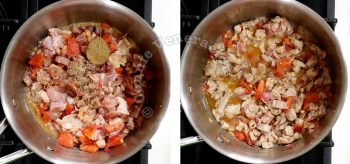 Adding chicken to sauteed onion, garlic and tomatoes in pot