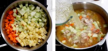 Adding vegetable and broth to chicken in pot