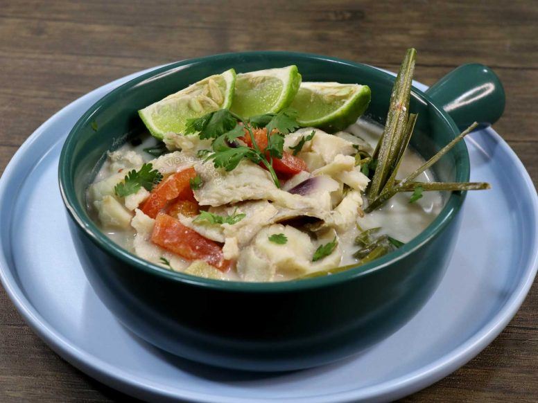 Thai Fish Coconut Milk Soup (Tom Kha Pla) Served with Kaffir Lime Wedges