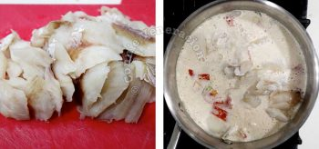 Slices of fish fillet for tom kha pla (Thai fish coconut cream soup)