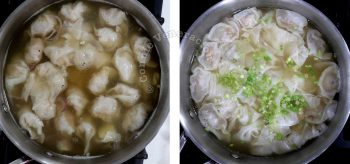 Dumplings in broth before and after cooking