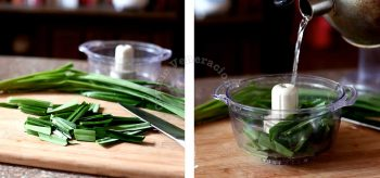 Cutting and soaking pandan leaves to make extract