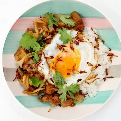 Pork and Mushrooms with Thai Basil Garnished with Fried Shallots and Cilantro