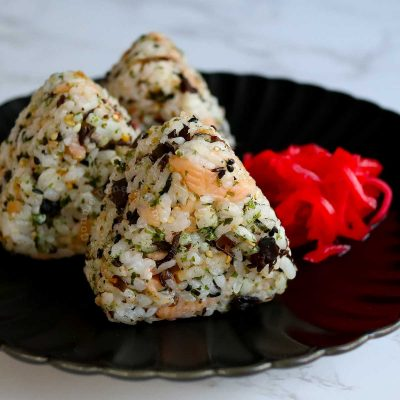 Smoked Salmon and Furikake Onigiri with Pickled Red Ginger on the Side