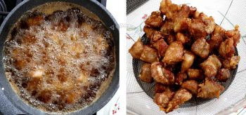 Frying marinated and battered pork