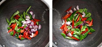 Stir frying shallots and bell peppers