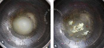 Boiling sugar, salt, rice vinegar, grated garlic and ginger to make the basic sweet sour sauce
