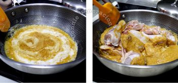Cooking Thai chicken curry in coconut milk