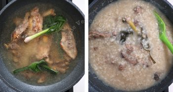 Cooking rice with chicken bones to name congee