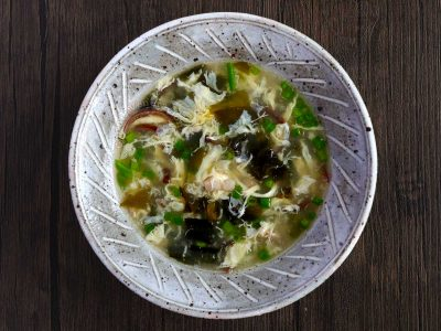 Chicken Wakame Egg Drop Soup in Rustic Stoneware Bowl