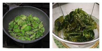 Frying basil leaves until crispy