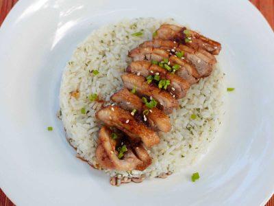 Duck breast teriyaki slices arranged over rice