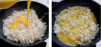 Pouring beaten eggs over entire surface of fried rice in wok