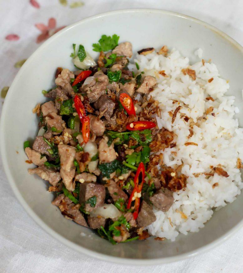 Pork larb (laab) rice bowl