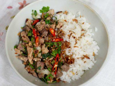 Pork larb (laab), the national dish of Laos