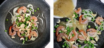 Pouring sauce over sliced onion, shimps, peas and cashew in pan