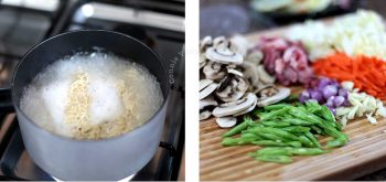 Noodles boiling in water / mushrooms, meat and vegetables on chopping board