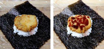 Chicken katsu over rice drizzled with tonkatsu sauce