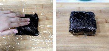 Folding nori sheet to make onigirazu