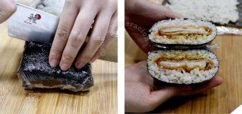 Cutting chicken katsu onigirazu into halves