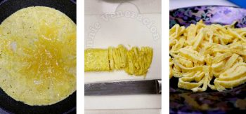Thinly cutting a rolled omelette