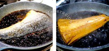 Cooking salmon in teriyaki sauce