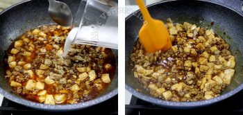 Thickening ma po tofu sauce with potato starch