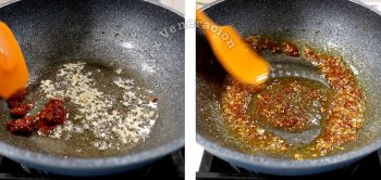 Adding broad bean chili paste to garlic and ginger in wok