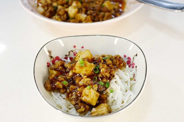 Ma po tofu rice bowl