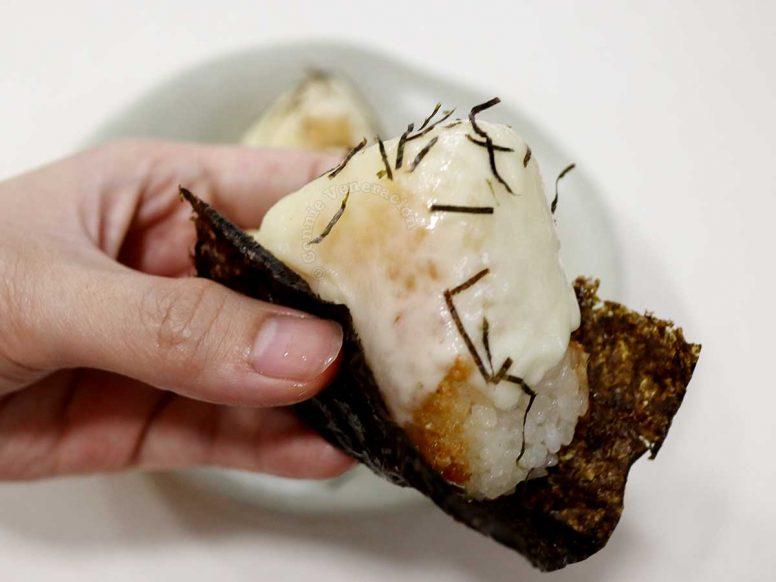 Cheesy tuna onigiri wrapped in toasted nori