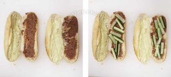 Split baguette spread with mayo and liver pate