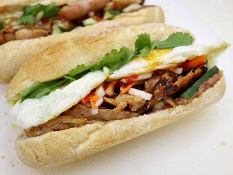 Rotisserie chicken banh mi with eggs