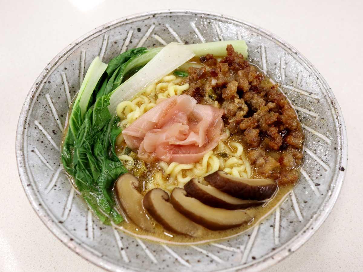 Ginger pork and shiitake ramen