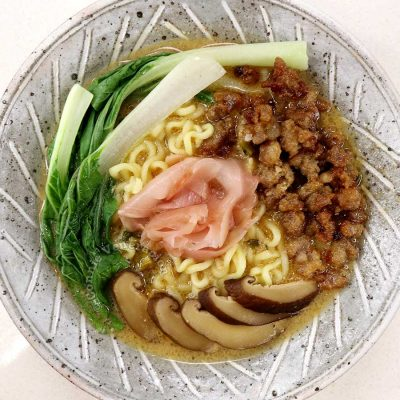 Instant ramen with bok choy, ginger pork, pickled ginger and shiitake