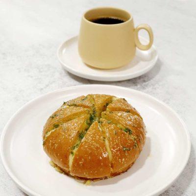 Homebaked Korean cream cheese garlic bread and coffee