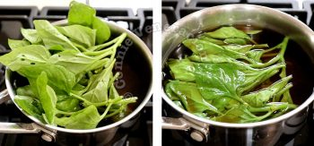 Wilting spinach in broth
