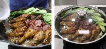 "Cooking ""claypot"" chicken rice in cast iron pan"