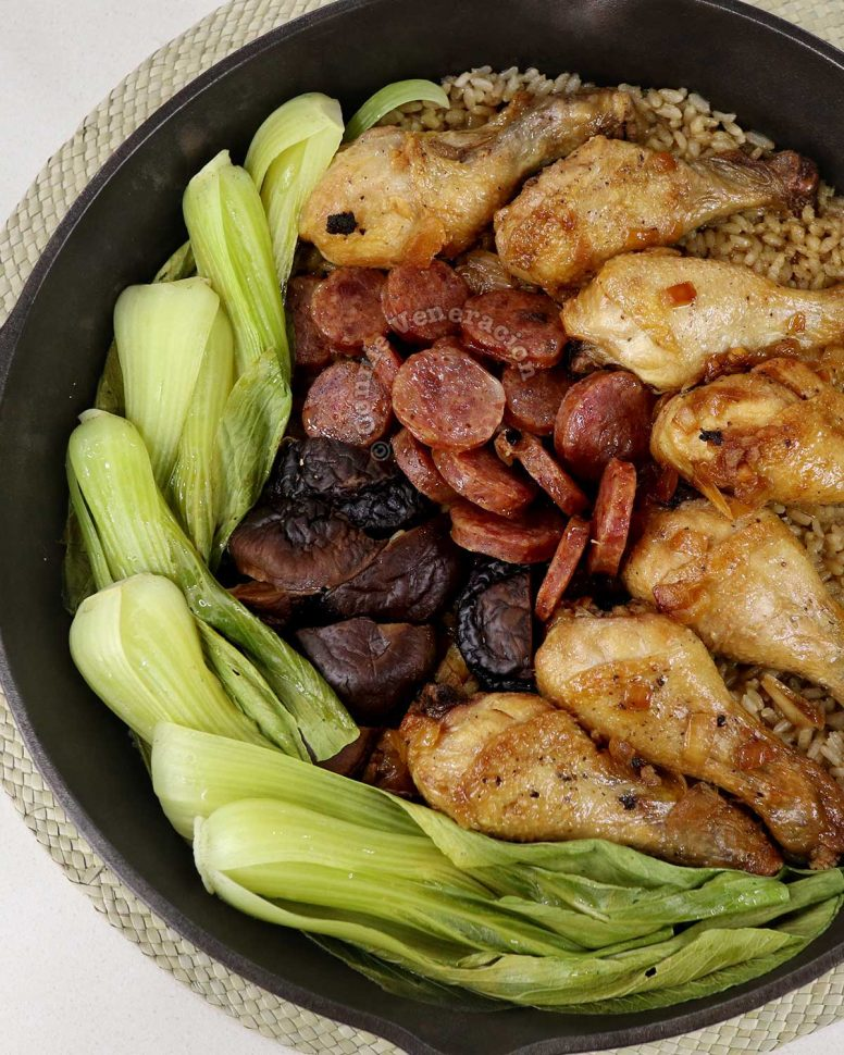 """""""Claypot"""" Chicken Rice with Chinese Sausage, Mushrooms and Bok Choy"""