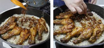 Arranging chicken and mushrooms on top of half-cooked rice in cast iron pan