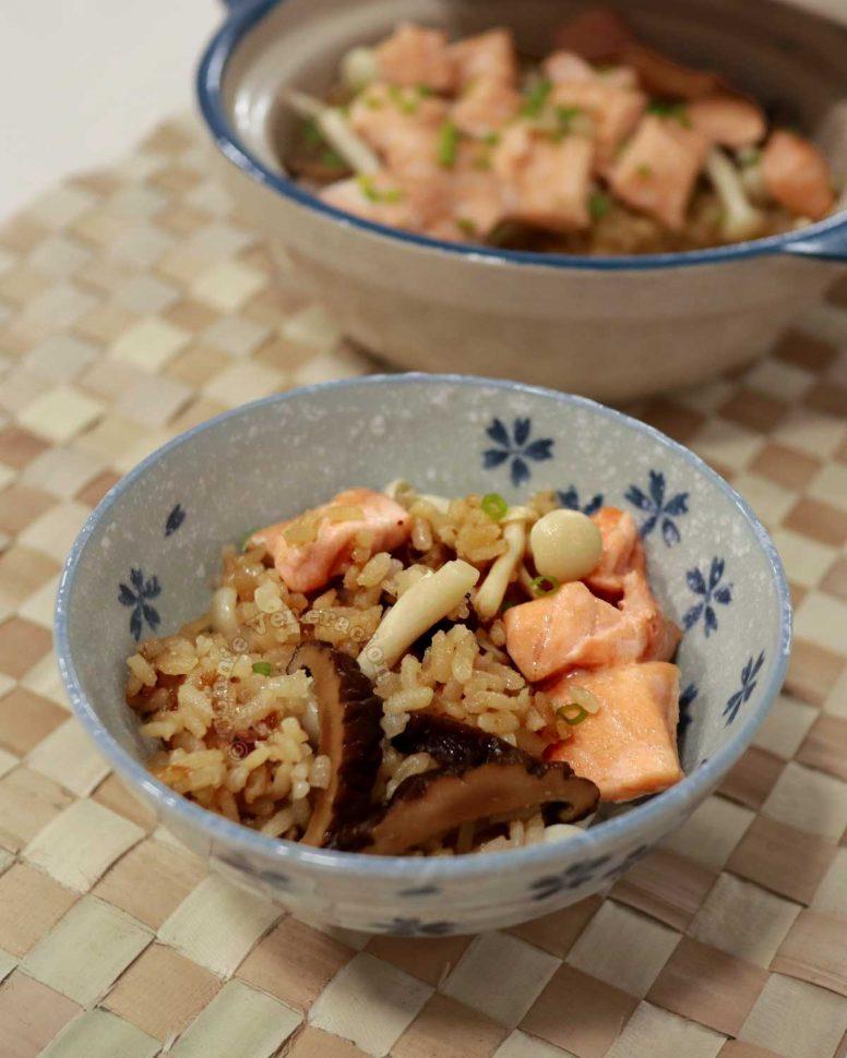 A serving of Claypot Salmon Mushroom Rice