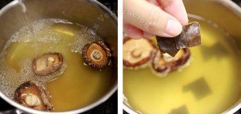 Adding kombu to mushroom soaking water