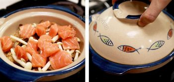 Adding cubes of salmon to rice and mushrooms in claypot