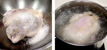 Rubbing chicken with salt before plunging in boiling water to remove impurities