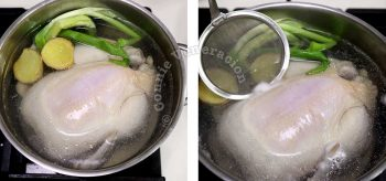 Poaching chicken with ginger and scallions